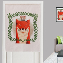 Pastoral Style Linen Cotton Short Valance for Home Office Coffee Door Cartoon Fox Leaves Printed Thick Door Curtains