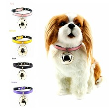 Leather Small Dog Collar With Big Star Bell Pet Goods Direct Chain Collars For Small Dog & Cat Collars,Personalized & Hand made(China)
