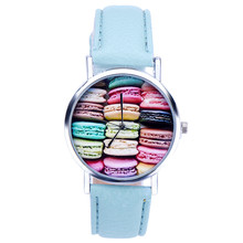 XINIU quartz watch women Unique Rainbow Mini Biscuit pattern Leather strap Analog Wrist Watch  relojes mujer horloges #01