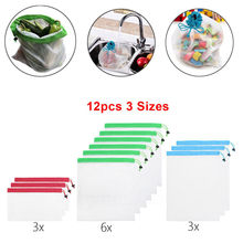 Storage Bags Clothes Shoes Organizer Reusable Mesh Produce Bags Washable Eco Friendly Bag for Storage Fruit Vegetable#5%(China)