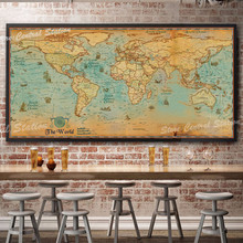 Vintage World Map Retro poster Ancient sailing map bar cafe pub home Europ Center geography world maps gift big size 100x50cm