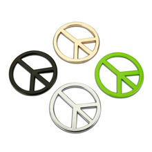 1pc Gold Black Silver Chrome Metal No War Logo Car Stickers Emblems Decoration Metal No Wars World Peace Symbols Car Decals