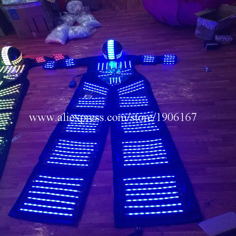 RGB Flashing LED Costume LED Stilts Walker Light suits LED Robot suits Kryoman robot david guetta robot with Helmet04