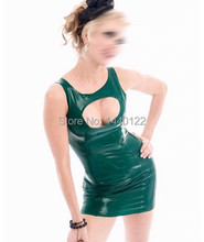 Summer dress 2016 original design Green sexy latex vestidos party dresses club wear fetish costumes plus size hot sale