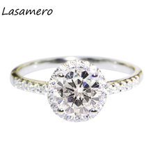 LASAMERO Round 1.0ct Moissanites Lab Grown Diamond Center Halo Style 10K/14K Solid White Gold Engagement Ring for Women(China)
