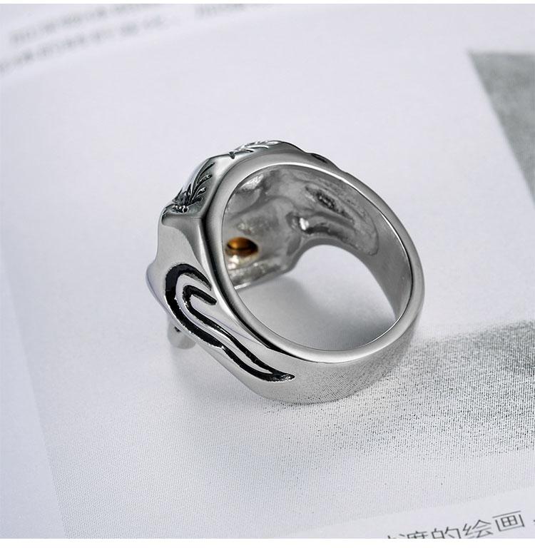 แหวนโคตรเท่ห์ Code 036 แหวนกะโหลกมาเฟีย เท่ห์ๆ กวนๆ สแตนเลส7