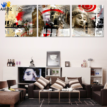 High Quality Hand-painted Group Painting 3 Panel Wall Art Religion Buddha Oil Painting On Canvas Framed F135&F136
