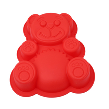 3D Lovely Bear Form Cake Mold Silicone Mold Baking Tools Kitchen Fondant Cutters Taart Decoratie Silikonowe Formy 3D(China)