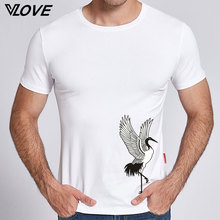 2017 New Arrivals Chinese style pattern crane printed Men t shirt fashion short sleeve tee shirt men o-neck t-shirt Casual tops(China)
