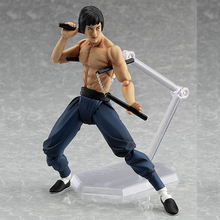 1 Pcs 14 CM Cool Bruce Lee Chinese Kung Fu Master PVC Movable Action Figures MF Figma 266 Collection Toys Model Original Box