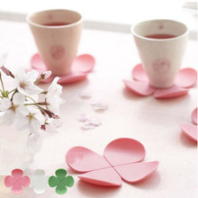 Lovely Four-leaf Flower Shape 5pcs/lot Drink Coaster Tea Coffee Cup Mat Kitchen Table Decor(China)