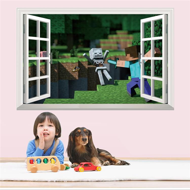 HTB1eUBFaqLN8KJjSZFGq6zjrVXaR - Removabled 3D Wallpaper Decals Minecraft Wall Stickers For Kids Rooms  Minecraft Steve Home Decor Popular Games Mural