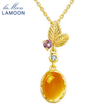 LAMOON S925 Chain Pendant Necklace 100% Natural Oval Citrine 925 Sterling Silver Jewelry 14K Yellow Gold Plated 7x9mm 2ctLMNI010