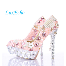 NEW design Pink pearl tassel crystal shoes ultra high heels round toe party shoes thin heels formal dress shoes bridal shoes(China)
