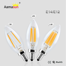 110V 220V Dimmable Led Bulb Filament E14 E12 Led Candle Light COB Chip Spot light Chandeliers 2W 4W 6W Bulb 1 Year Guarantee()