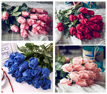 11pcs Fresh rose Artificial Flowers Real Touch rose Flowers, Home decorations for Wedding Party or Birthday Valentine's Day gift(China)