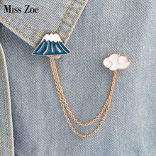 Miss Zoe Mount Fuji Clouds Planet Lightning Brooch Pins with Chain DIY Button Pin Denim Jacket Pin Badge Jewelry Gift for Kids