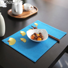 DUNXDECO 1PC 25x37CM Artistic Blue Fabric Ginkgo Embroidery Linen Cotton Table Placemat Home Store Party Table Cover Decoration