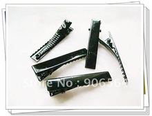 46mm  BLACK  tone hair clips Single Prong alligator clip teeth clips handwork DIY craft hair accessory long 150pcs/lot
