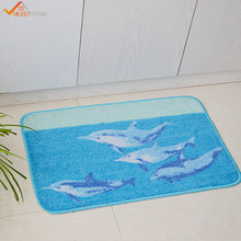 "45x70cm Rubber Back Non-Slip Bath Mat 17"" x 27"" Blue Dolphin Bathroom Rug and Carpet Kitchen/Hallway/Entry/High Traffic Mats(China)"