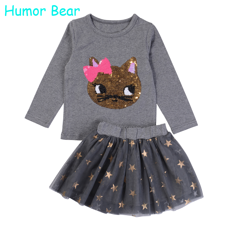 Humor Bear NEW Autumn Baby Girl Clothes Girls Clothing Sets Cartoon Sequins Cat Long Sleeve+Stars Skirt Casual 2PCS girls suits<br><br>Aliexpress