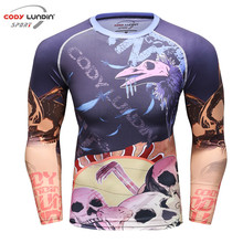 Mens Compression Shirt Body Base Layer Thermal Under Tops Long Sleeve T-Shirt Skins Gear Cool Dry Jersey(China)