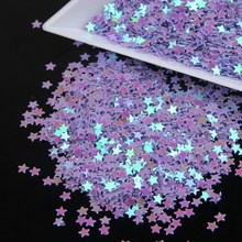 Stars Shape Holographic Purple Color Laser Nail Glitter Paillette Sequins Universe Beauty Decal Nail Tool Wholesale WY19(China)