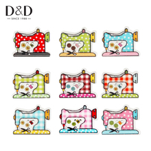 D&D 20pcs/set Wooden Buttons Sewing Scrapbooking Multicolor Sewing Machine Pattern 2 Hole Sewing  Supplies 2*2.6cm