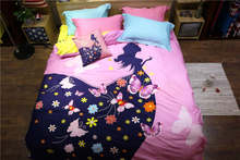 Girl Butterfly Printed bedding full queen size comforter sets Egyptian cotton 600TC bedclothes coverlets 4-5 pcs blue pink color(China)