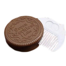 2017 1Pcs Mini Pocket Chocolate Cookie Biscuits Compact Mirror With Comb Cute(China)