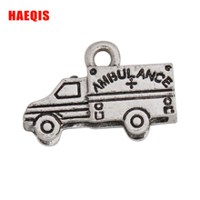 HAEQIS Fashion Antique Silver Color Ambulance Car Charms For Medical Nurse Jewelry 50pcs 13*20mm AAC270(China)