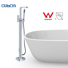 OUBONI New Arrival WELS and CUPC Chrome Plated Freestanding Tub Filler Floor Standing Bathtub Faucet Shower Set Faucets(China)