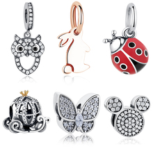 100% 925 Sterling Silver European Pumpkin Car,Paw Print Heart Charms Fit Original Pandora Bracelet Necklace Jewelry Accessories(China)