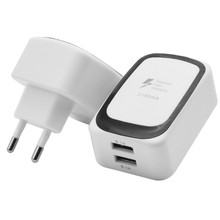 2 USB Ports Travel Charger AC Adapter Wall Power Outlet Socket EU Plug White MOSUNX Futural Digital MAY1