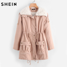 SHEIN Fleece Lined Pocket Front Drawstring Parka Coat Womens Winter Coats Pink Long Sleeve Casual Womens Coats(China)