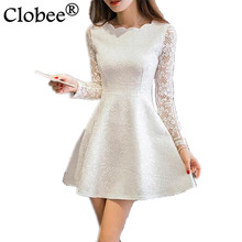 Spring Summer Autumn Women Lace Casual Dress Long Sleeve Korean Party Dresses Vestido White Black Pink Mini Dress Robe Dentelle(China)