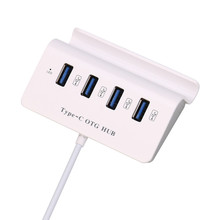 Type C ABS High Speed Mini 4 Ports USB 3.1 OTG HUB With Phone Tablet Holder Jul26 Professional Factory Price Drop Shipping(China)