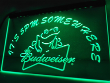 LA416- It's 5 pm Somewhere budweiser Frog Neon Sign     home decor  crafts
