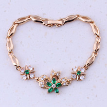 Absorbing Green Created Emerald & Cubic Zircon Yellow Gold Color Cheap Charm Bracelets For Women Free Gift Box I0315