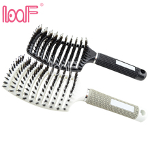 LOOF 1piece Anti-static Heat Curved Vent Comb Barber Salon Hair Styling Boar Bristle Brush Best For Detangling All Hair Types(China)