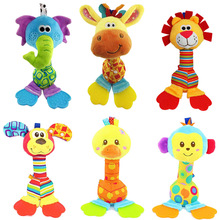 Happy Monkey 22cm Baby Rattle Stick Teether Stuffed Plush Doll Bibi BB Sound Bed hanging Toy Toys Puzzle Bell Ring Infant Puppet(China)