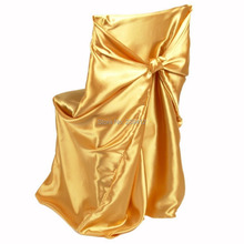 100pcs Black #136 Gold Back Self Tie ,Universal Satin  Chair Cover for Weddings Events &Banquet &Party Decoration