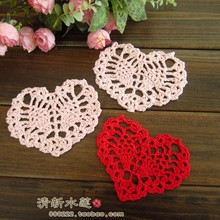 free shipping crochet 20 pic  hearted table mat cup doily table pad coaster for wedding decoration lace felt for home decor pads