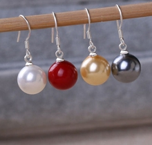 LiiJi Unique Fashion Jewelry White/Grey/Gold/Red  AAA Shell Pearl Drop Earring