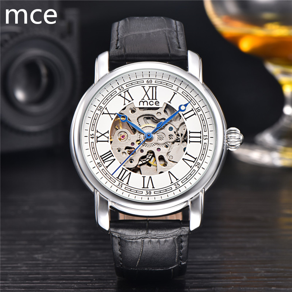 MCE Watches Men Luxury Brand Automatic Mechanical Watch Brown leather skeleton watch Waterproof Mens Watch Montre Homme 2017<br><br>Aliexpress