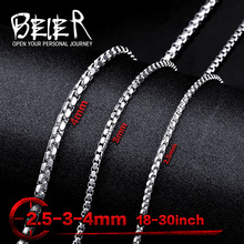 Beier 2.5mm/3mm/4mm stainless steel necklace new twist trendy chain necklace boy man necklace BN1009(China)