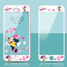 Cartoon Pattern Full Cover Tempered Glass For iPhone 6 6S 7 8 Plus Screen Protector Protective Film(China)