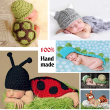 Cute !! Soft Newborn Baby Photography Props Baby Hat Baby Cap Baby Girl/Boy Clothes Newborn Crochet Outfits free shipping(China)