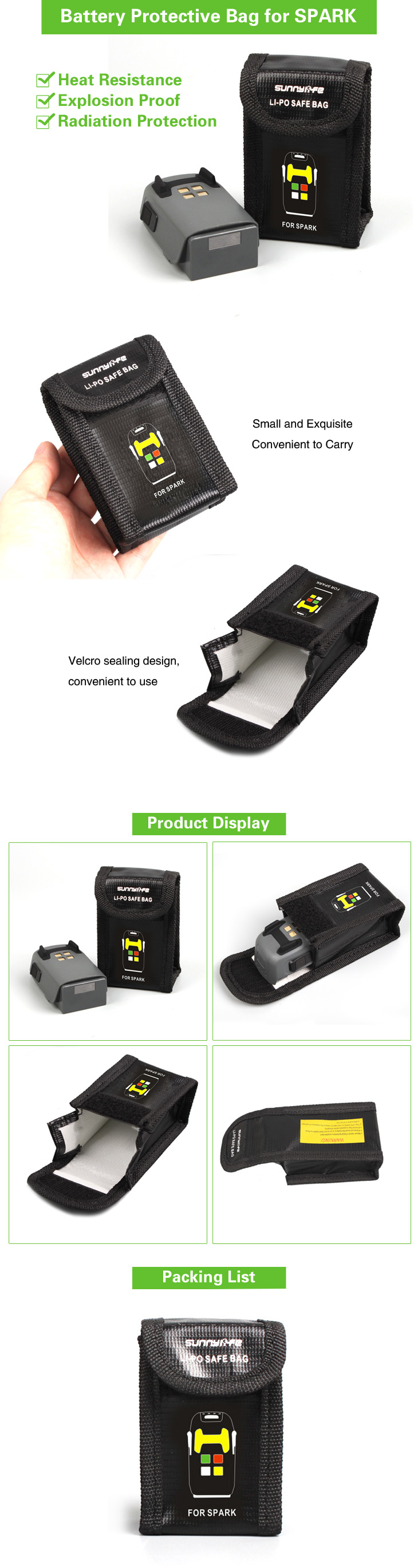 JMT Li-po Battery Safe Bag Heat Resistence Fireproof Radiation Protective Bag Large/Small for DJI Spark Drone F21241/42
