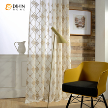 DIHIN 1 PC embroidered tulle for windows sheer curtains for living room the bedroom kitchen blinds embroidered curtain fabric
